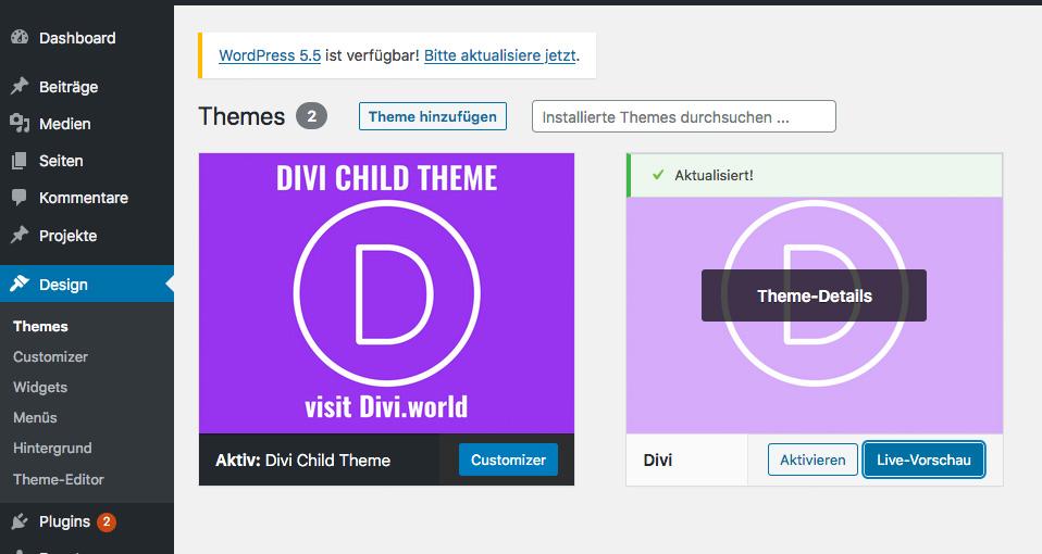 Divi Theme und WordPress aktualisieren, BackUp mit UpdraftPlus erstellen